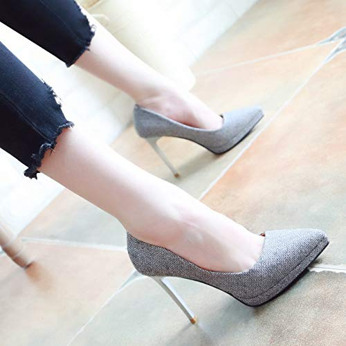 Kphy Shoes Mince Hauts Simples thirty seven Gris Talons Single Shallow Chaussures 10cm Automne sexy Talon Pointus wqrUw1