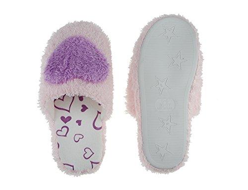 Femmes Pantoufles Maison Chaude Polaire, Dames Filles Belle Coeur Hiver Doux Confortable Coton Anti-dérapant Pantoufles Ménage Mules Intérieur Étage Slip-on Chaussures Sabot Violet