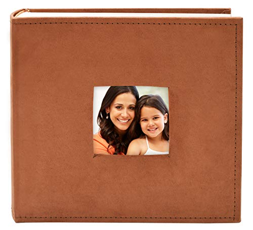 Golden State Art Fabric Photo Album - Rust Color - Holds 200 4x6-in Pictures (2 per Page) - One 3x3 Front Opening - Smooth Suede Style Cover