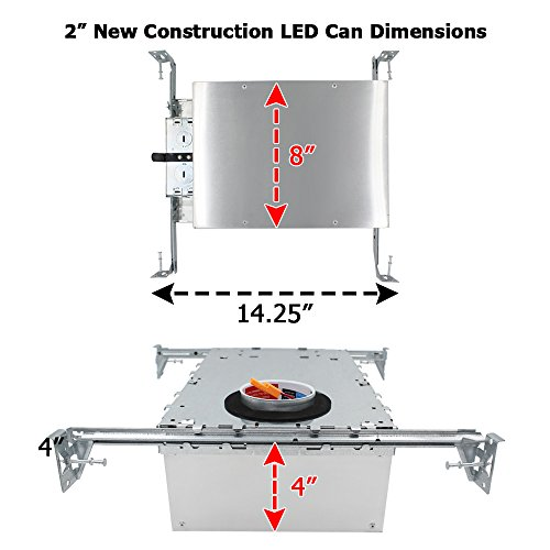 "ESD Tech 4 Pack 2"" Inch LED New Construction Recessed Housing Can with Driver for Ceiling Downlights. Airtight, IC Rated, Dimmable, UL Listed, Energy Star, Title 24 Certified TP24 Connection by ESD TECH (Image #2)"