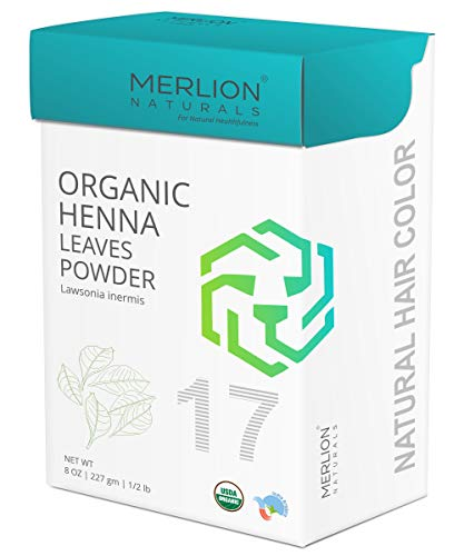 Leaf Henna - Organic Henna Leaves Powder by MERLION NATURALS | Lawsonia Inermis | 227 g / 8 OZ / 1/2 lb | USDA NOP Certified 100% Organic | For Natural Hair Color and Conditioning