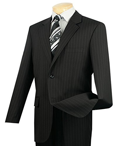 (VINCI Men's Pinstriped 2 Button Classic-Fit Suit Black | Size: 44 Regular / 38 Waist)