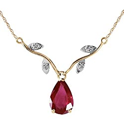 1.52 Carat 14k Solid Gold Natural Ruby Diamond Pendant Necklace