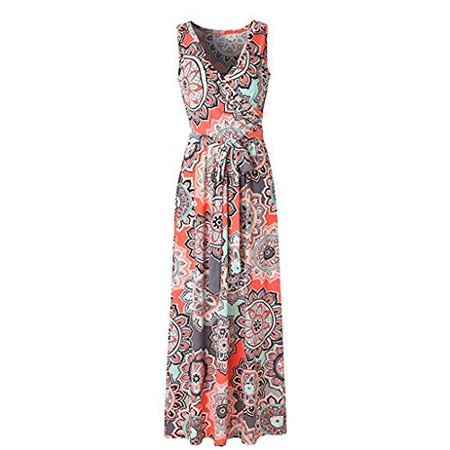 LYN Star ◈ Women's Summer V Neck Floral Maxi Dress Casual Long Dresses Bohemian Printed Wrap Bodice Crossover Dress Orange ()
