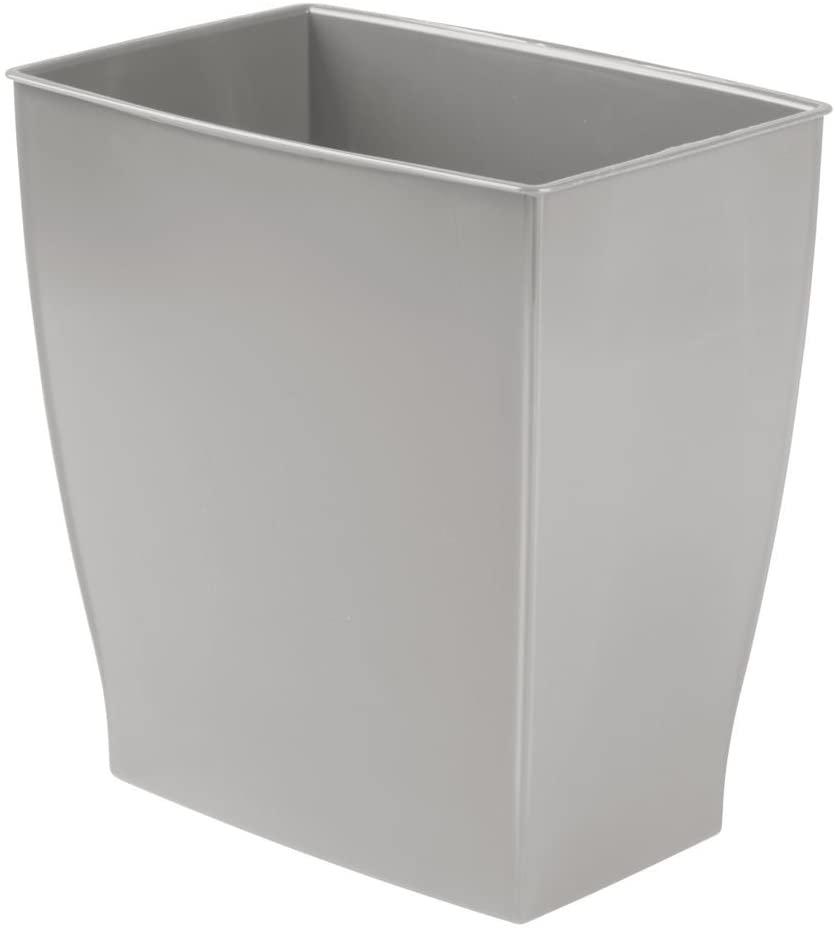 iDesign Spa Rectangular Trash Can, Waste Basket Garbage Can for Bathroom, Bedroom, Home Office, Dorm, College, 2.5 Gallon, Gray