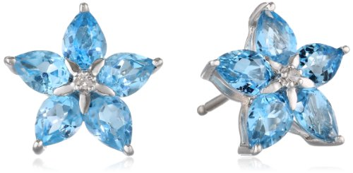 Diamond Blue Topaz Ring Earrings (Sterling Silver Swiss Blue Topaz and Diamond Flower Earrings)