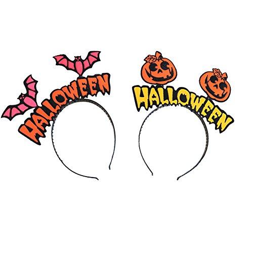 Pumpkin Makeup Costume (Halloween Pumpkin Witch Hairband Hair Bands Clips Accessories Halloween Costumes Headwear Party Decorations Supplies Favors for Women Girls Kids Pack of 2)