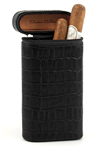 Andre Garcia Manhattan Collection Black Crocodile Zippered Italian Leather and Cedar-Lined 4 Finger Cigar Case