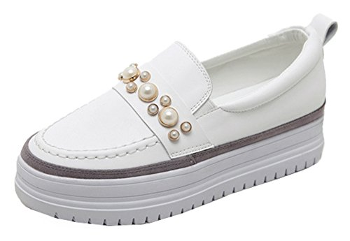 SHOWHOW Women's Comfy Pearl Sneakers - Round Toe Thick Sole - Platform Slip On White 5.5 B(M) US by SHOWHOW