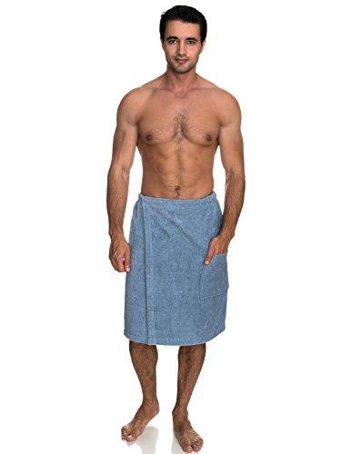 TowelSelections Men's Wrap, Shower & Bath, Terry Spa Towel Large/X-Large Blue (Rap Around Bath Towel)