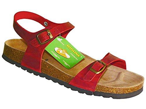 Bioline-Saty Mujer zapatos con correa Rojo