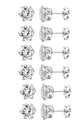 Thunaraz CZ Stud Earring for men women Silver tone - Stud 4 Earrings Mm