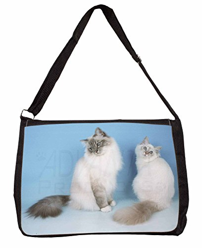 Two Gorgeous Birman Cats Large 16 Black School Laptop Shoulder Bag uWBfQ7f5z
