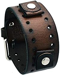 #BN-BB Dark Brown Wide Leather Cuff Wrist Watch Band