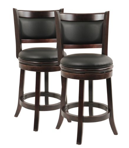 Boraam 8824 Augusta Counter Height Swivel Stool, 24-Inch, Cappuccino, 2-Pack ()