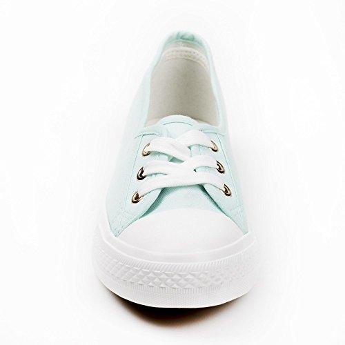 Ideal Shoes Baskets Basses en Toile Bicolore Stelly Turquoise kOt1ho42