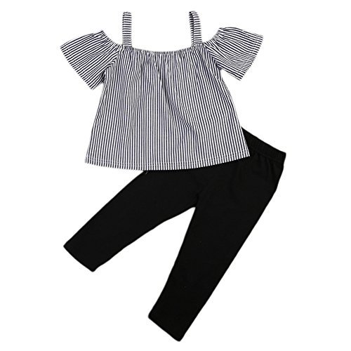 Kids Toddler Baby Girls Off Shoulder Striped T-shirt Tops+Pants Outfit Set (3-4 Years, Stripe+Black)