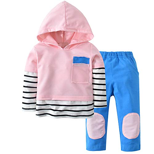 Baby Boy Girls Clothes Long Sleeve Summer Breathable Hoodie Tops Sweatsuit Pants with Headband Outfits Set (F-Pink, 6-12 Months)