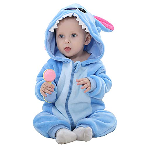 Unisex-Baby Flannel Romper Animal Onesie Pajamas Outfits Suit(Blue Monster,90(12-17M))]()