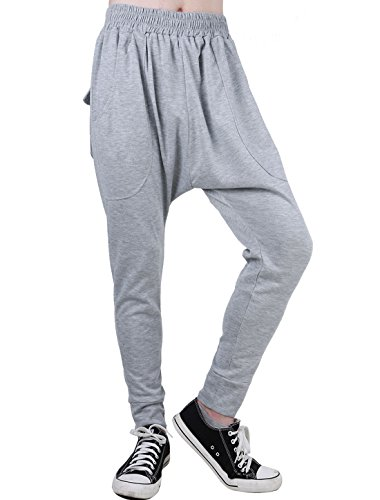 uxcell Men Mid Rise Elastic Waist Front Pockets Tapered Harem Pants Light Grey W36/38 ()