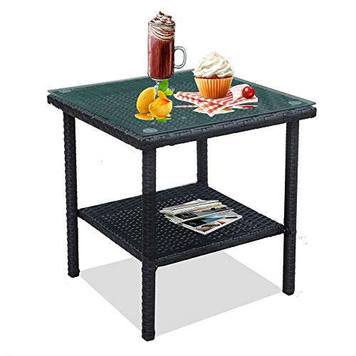 LEAPTIME Patio Side Table Square End Table Black Wicker Tea Table Picnic Table Balcony Small Table with Tempered Glass Top