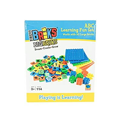 Strictly Briks 4 Color Montessori 114 Total Letters, Numbers and 3D Briks & 8x8 Plates: Toys & Games