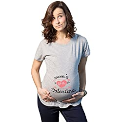 Maternity Moms Little Valentine Cute Funny Valentine's Day Pregnancy T Shirt L