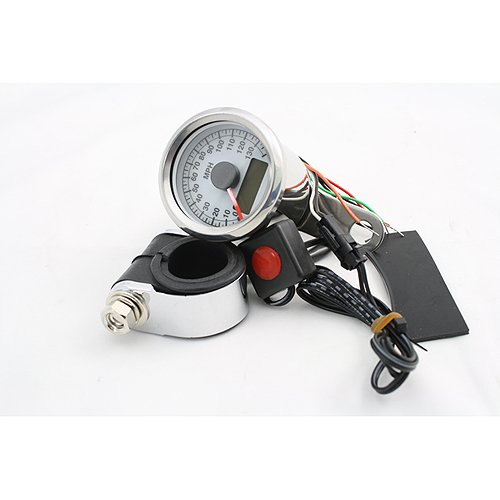 BKRider Programmable Mini Electronic 1.87 White Face Speedometer With Odometer/Tripmeter For Harley-Davidson