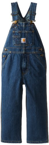 Carhartt Little Boys' Washed Denim Bib Overall, Worn In Blue, 7 -