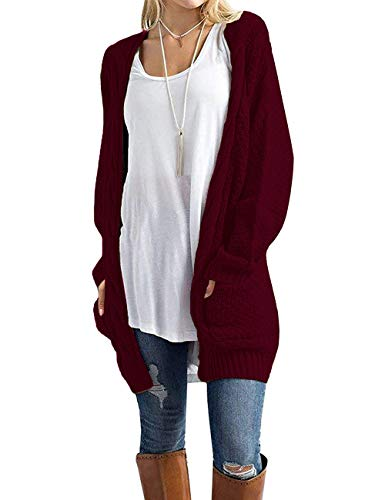 GRECERELLE Women's Loose Open Front Long Sleeve Solid Color Knit Cardigans Sweater Blouses with Packets Wine Red-S