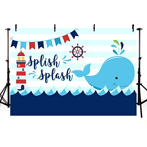 MEHOFOTO Splish Splash Whale Baby Shower Backdrop Props Ahoy Blue Stripes Little Squirt Boy Birthday Photography Background Photo Banner for Cake Table Supplies 7x5ft