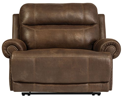 Signature Design by Ashley Austere Brown Zero Wall Power Wide Recliner