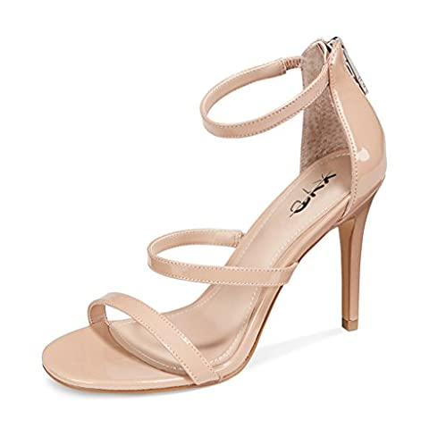 XYD Evening Sexy Strappy High Heel Stilettos Open Toe Patent Sandals Women Shoes with Back Zip Size 11 - Patent Strappy Stiletto Heel