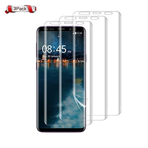 Samsung Galaxy S9 Plus Screen Protector, Besiva [3-Pack] Full Coverage Liquid Skin Screen Protector Case-Friendly Anti-Bubble HD Clear Flexible Film for Samsung Galaxy S9 Plus, Clear