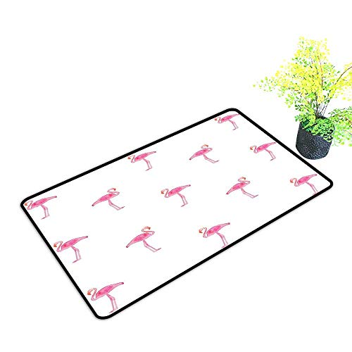 Zmstroy Interior Door mat Flamingo Flamingos Pattern with Watercolor Painting Effect Simple Design Art Print W35 xL59 Durable Pink and White]()