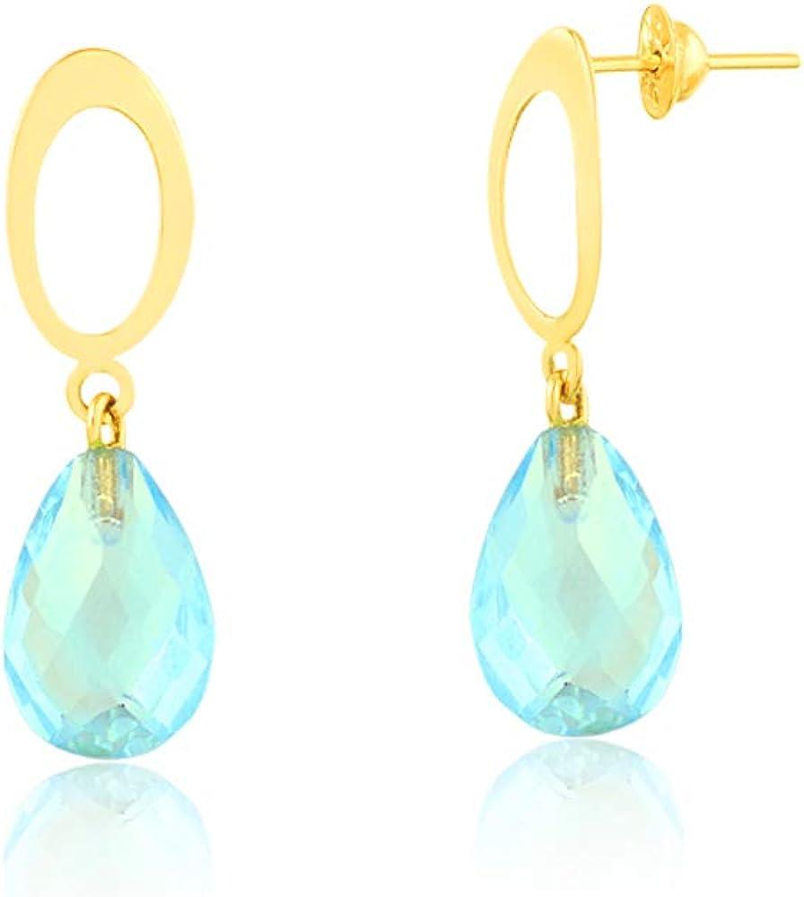 925 Solid Silver Women Earring Elegant Blue Topaz Earring Natural Blue Topaz Drop Dangle 14K Yellow Gold Plated Earring Designer Earring
