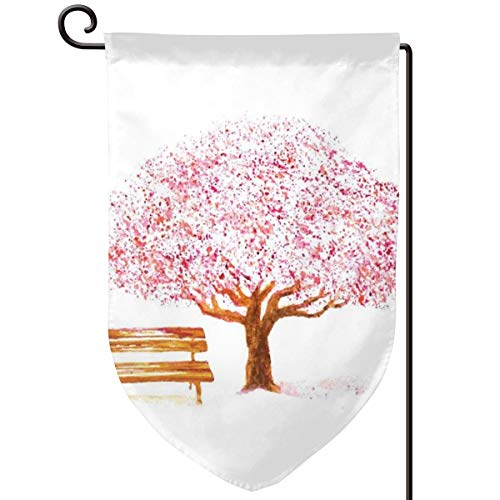 (lsrIYzy Garden Flag,Watercolor Blooming Cherry Tree in The Park with Wooden Bench Floral Art Print,12.5x18.5 inch)