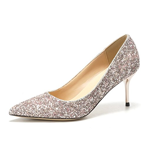 HUAIHAIZ Tacones altosLos zapatos de tacón alto chica novias vestido de novia rosa solo zapatos Zapatos Pink 5CM