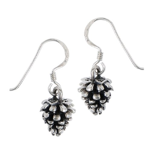 .925 Sterling Silver Nature Lover's Pine Cone Dangle Earrings]()