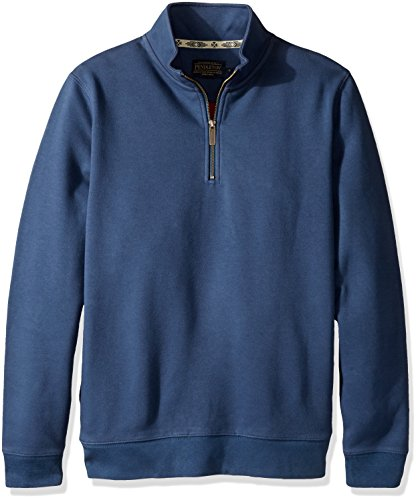 Pendleton Men's Alsea 1/4 Zip Fleece Sweatshirt, Blue/Red-61194, LG ()