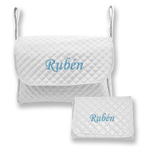 Mi Pipo - Set bolso y cambiador bebé personalizados blanco, color de bordado: celeste
