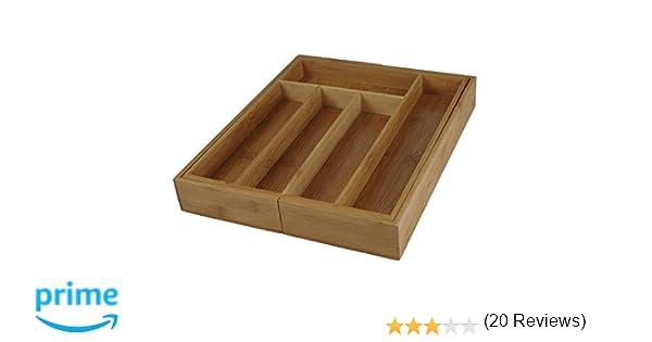 Excellent Houseware, Bandeja Cubiertos Bambu 28 cm x 28 cm, Extensible Hasta 28 cm x 45 cm