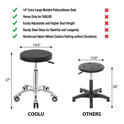 Coolu Professional Swivel Rolling Stool Adjustable Height Hydraulic Stool with Wheels for Office Laboratory Medical Salon Tattoo Kitchen Massage Studio Black