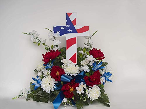 Solar American Flag Cross - Perfect Cemetery Decoration for Veterans - Lighted Grave Memorial Powered by God's Light (Renewed)