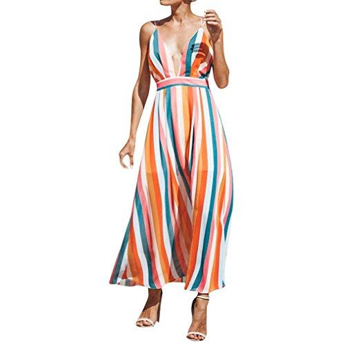 Tiefer V Cami Kleider für Frau Sommer Multicolor Stripe Maxi Kleid ...