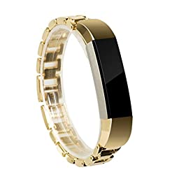 For Fitbit Alta Band, Wearlizer Smart Watch Metal Wristband Replacement Strap Bracelet for Fitbit Alta - Gold