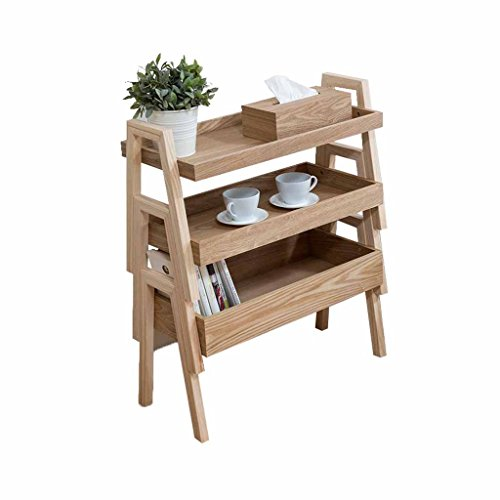 (Detachable Wooden 3-Tier Flower Stand Succulents Rack Multilayer Floor-Standing Ladder Classification Storage Box Shelf Wood Color Multifunction Indoor Outdoor (Size:L65cm X W30cm X H77cm))