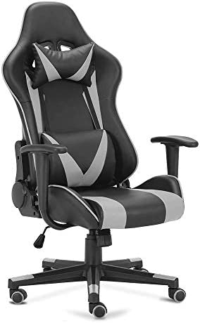 OGEFER PC Gaming Chair Computer Chair Racing Style Ergonomic with Headrest Pillow Lumbar Support Armrest Home Office Swivel Chair Rocking Function 180 Degree Reclining Massage Black Grey