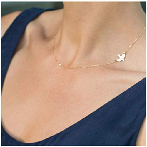 Olbye Sidesway Dove Necklace Choker Minimal Gold Necklace for Women and Girls Bird Necklace