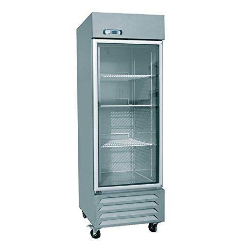 EQ Kitchen Line Stainless Steel Commercial 1-Glass Door Standing Refrigerator, 27.60